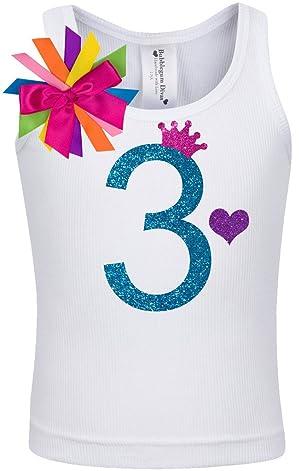 Bubblegum Divas Little Girls 3rd Birthday Rainbow Princess Shirt 3
