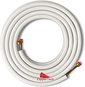 """25 Ft 1/4"""" x 3/8"""" Line Set for Ductless Mini Split Systems Copper Tubing for Air Conditioners and Heat Pumps"""