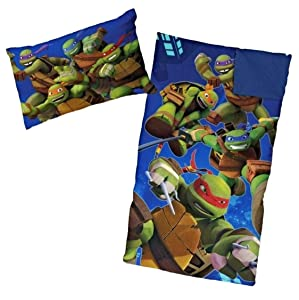 Ninja Turtle Sleeping Bags for Boys Slumber Bag (45 Degrees Fahrenheit) and Pillow - 2 Piece Set