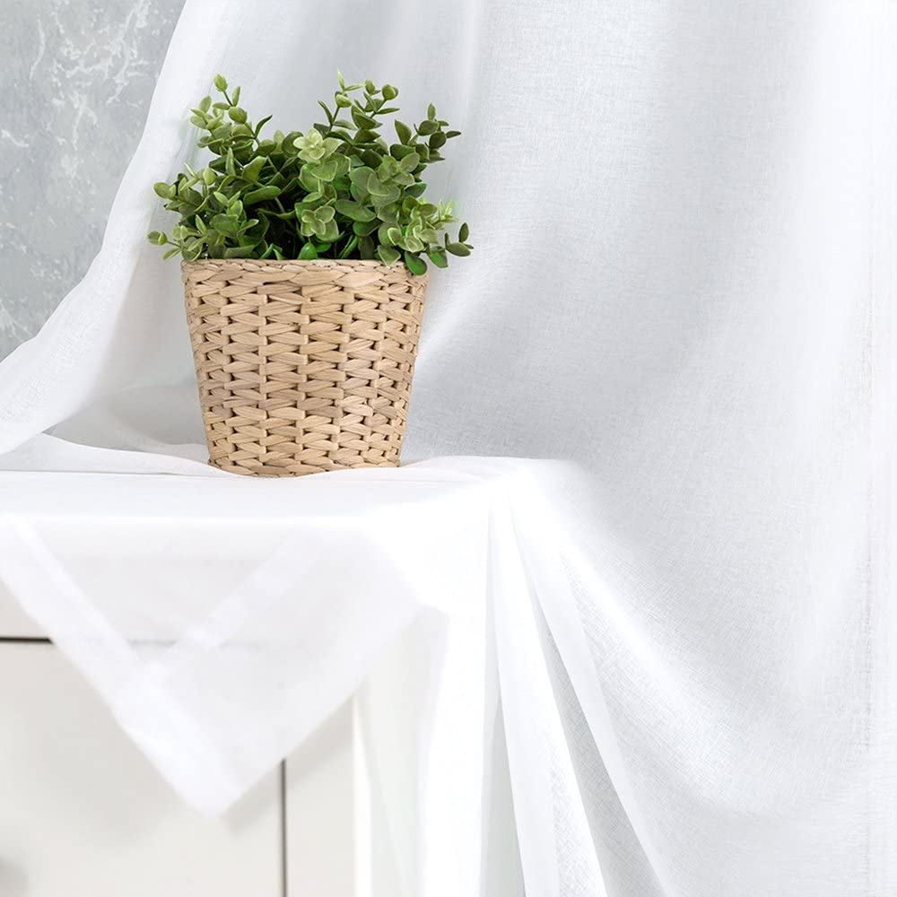 White Sheer Curtains for Living Room 63 Inch Length Rod Pocket Voile Curtain Panels for Bedroom Sold in Pairs