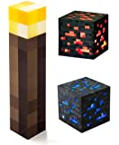 ThinkGeek Minecraft Light-Up Wall Torch Diamond Ore and Redstone Ore Pack of 3
