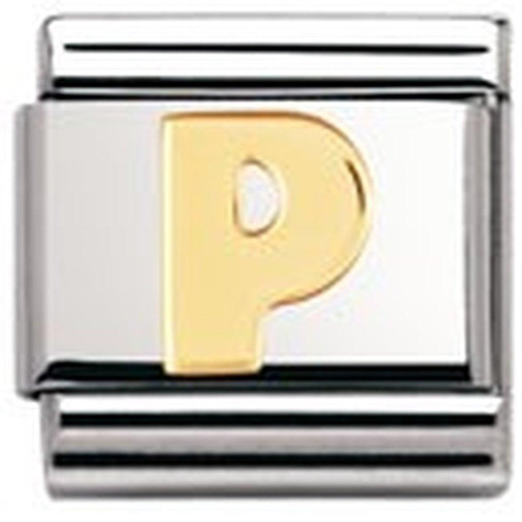 Nomination 030101 - Maillon pour bracelet composable - Femme - Lettre - Initiale - Acier inoxydable et Or jaune 18 cts