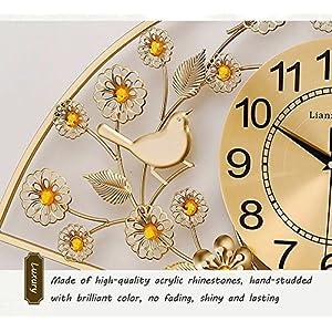 Wall clock Reloj Sala de Estar Inicio Reloj de Pared Moderno Minimalista silencioso Reloj de Cuarzo Sector Metal Shell Cristal Espejo 26 Pulgadas 24 * 24 cm Reloj Cara 5