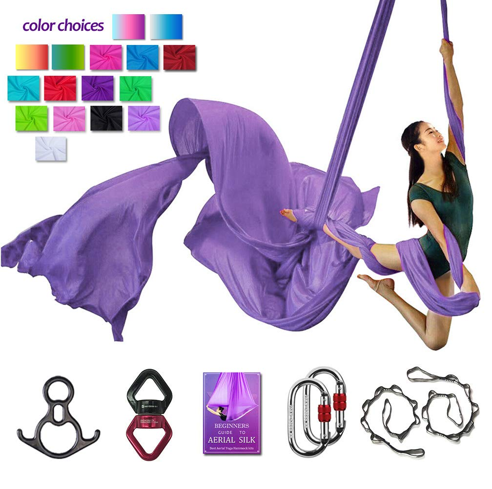 Aerial Silks Deluxe Equipment Set for Aerial Yoga, Aerial Yoga Hammock, Aerial Acrobatic,Circus Arts, Aerial Dance(L:10m W:2.8m (Light Purple)