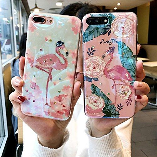 Funda iPhone 7 Plus,Funda iPhone 8 Plus,SainCat Moda Alta Calidad suave de TPU Silicona Suave Funda Carcasa Caso Parachoques Diseño Flamencos pintado Patrón para Funda TPU Silicona Flexible Ultra Delg Sombrero flamenco