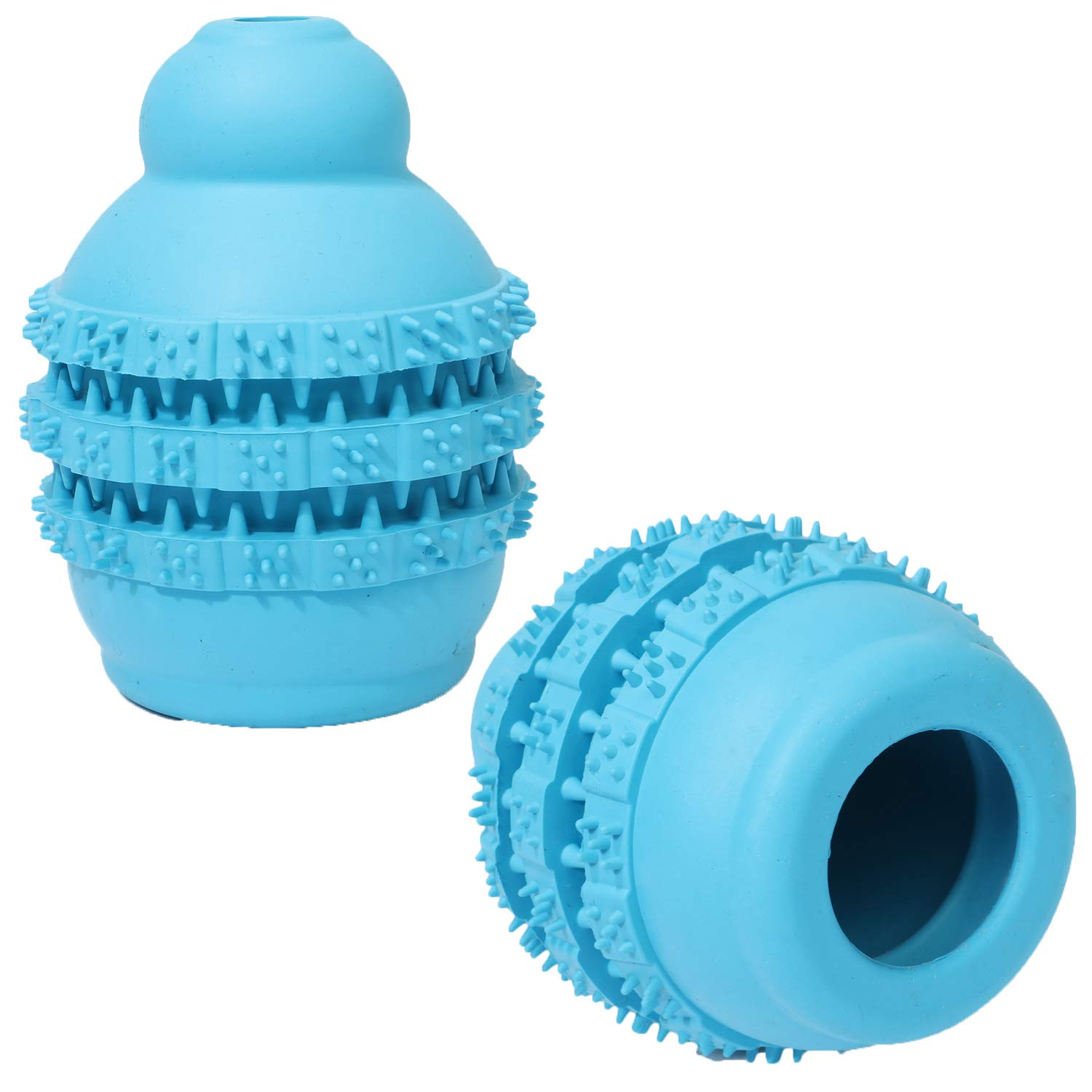 bluee 7×9cm bluee 7×9cm Pet Puppy Training Tooth Cleaning Toy 2 Non-Toxic Soft Rubber Ball Gourd Leaking Food Ball