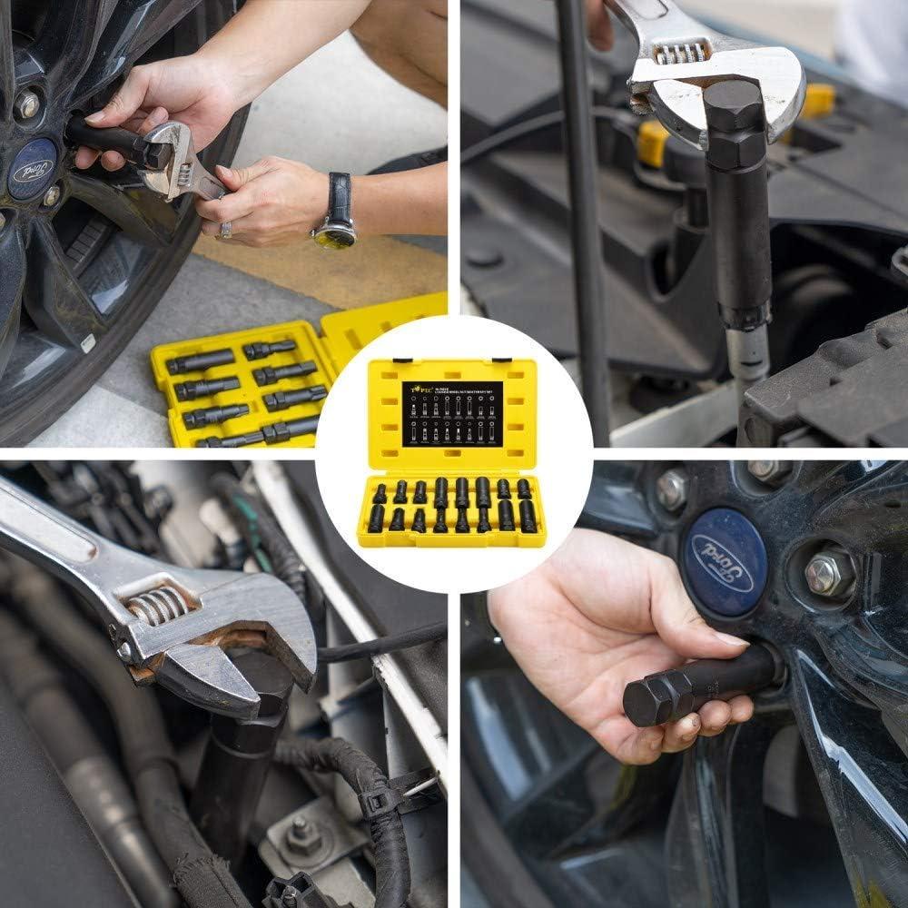 per rimuovere facilmente i dadi di bloccaggio sulle ruote aftermarket Set di 16 chiavi metriche SAE kit di rimozione del blocco delle ruote
