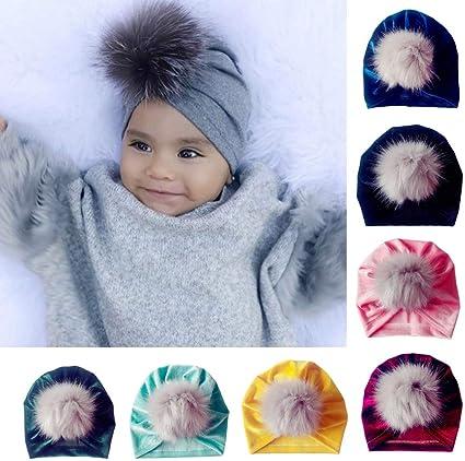 Newborn Toddler Kids Baby Boy Girl Turban Velvet Beanie Hat Hair Ball Warm Cap