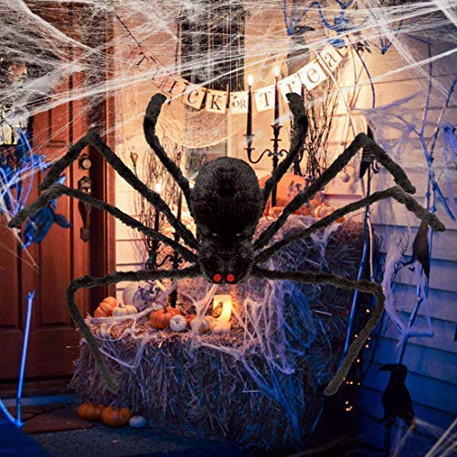 YOBAYE Giant Huge Spider Black Hairy Spider for Halloween Yard Decorations, Large Fake Spider Props Patio Spiderweb for Halloween Party Outdoor Decor, 59 Inch