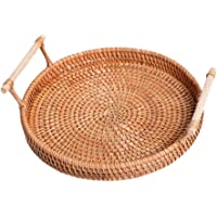 Vosarea Rattan Serving Tray Round Rattan Storage Tray with Handles for Home Restaurants Wedding Handcrafted Breakfast Drinks Snack Food Coffee Bread