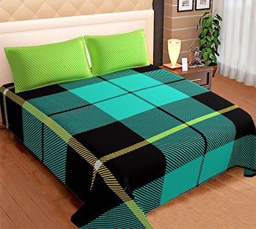 Indian Exclusive Checkered Printed 200 TC Cotton Bedspread Set of 1 Bedsheet & 2 Pillow Cover (Green) (Tc 220 Sheet)