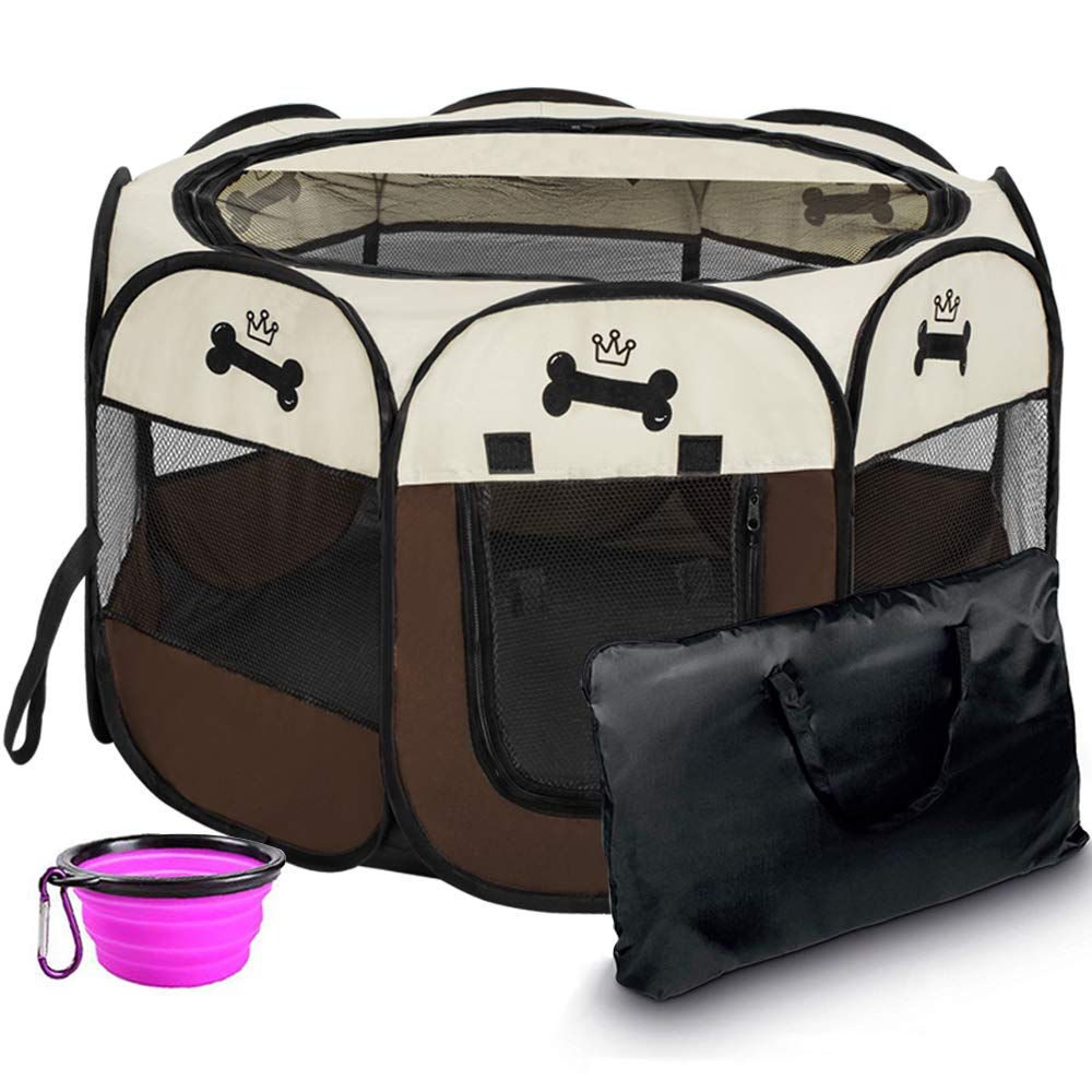 Hepeng Portable Foldable Pet Playpen Kennel+Carrying Case,in/Outdoor use | Waterproof | Removable Shade Cover | Dogs/Cats/Rabbit | Puppy Playpen by Hepeng