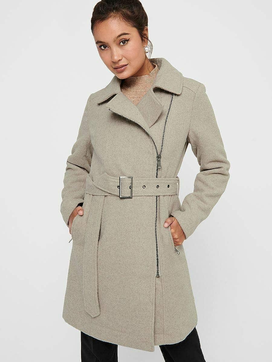 Only Onlolivia Long Biker Wool Coat Otw Abrigo de Mezcla de Lana para Mujer