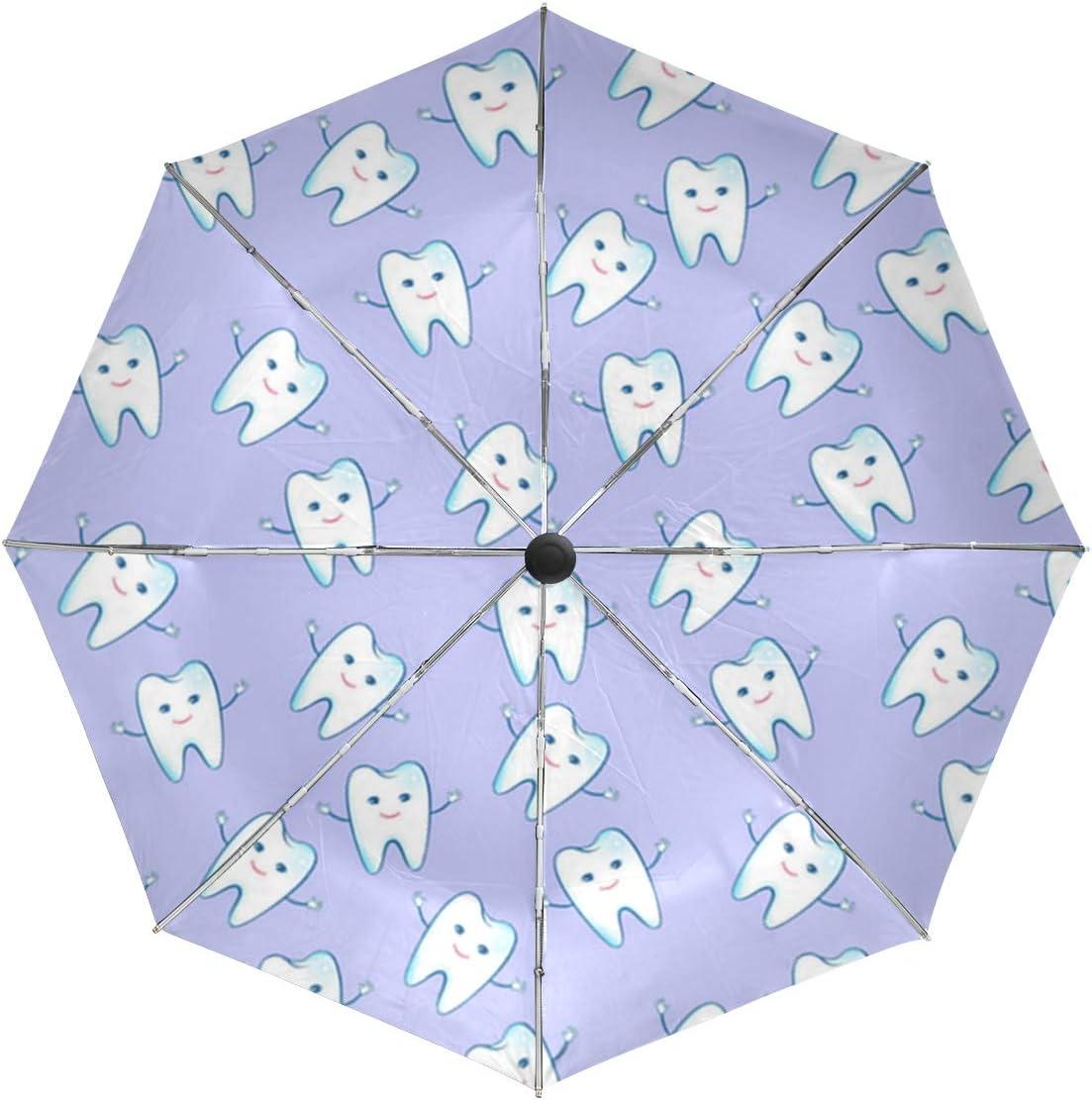Happy Teeth Lovers Sun/&Rain Automatic Umbrella Windproof Travel UV