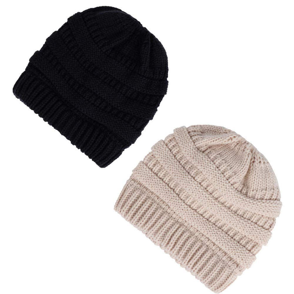 2 Pack Black & Beige Beauty7 Women Soft Stretch Knit Beanie Cap Slouchy Ponytail Hole Messy Bun Hat