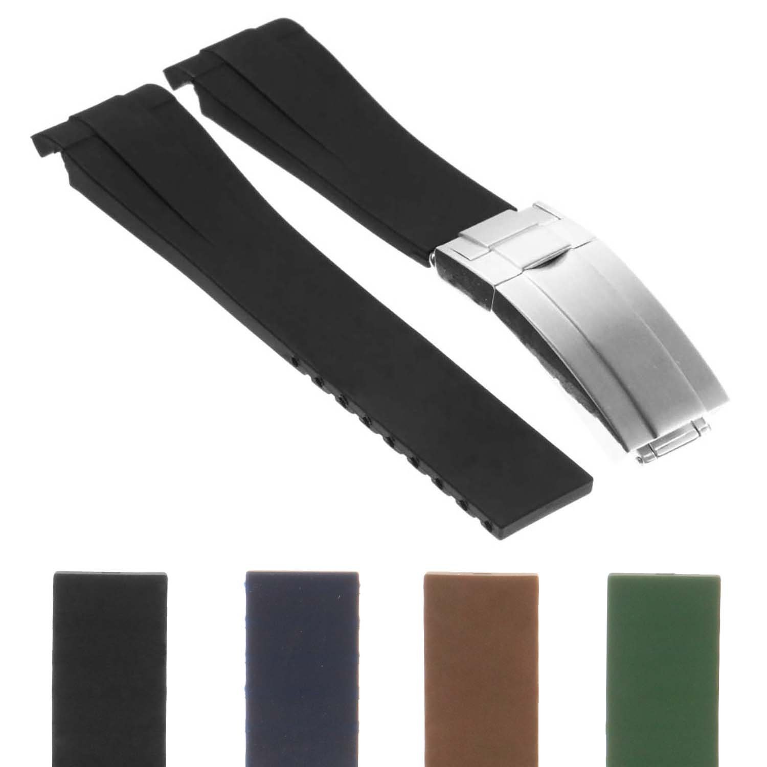 StrapsCo 20mm Premium Silicone Rubber Replacement Watch Band Strap for Oysterflex