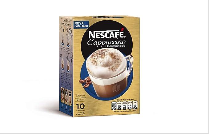 Nescafe | Café instantáneo | Cappuccino Decaf | 10 palos por paquete 125gr/4.41oz