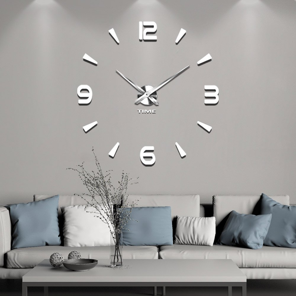 Vangold Decorative DIY Wall Clock, 2-Year Warranty Frameless Wall Clock with 3D Mirror Large Number for Living Room/Bedroom/Home Wall Decorations HG-073-BL
