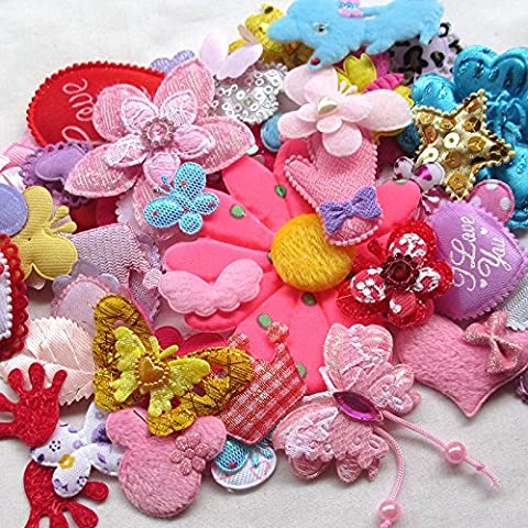 50pcs Random Assorted Felt Padded Appliques Sewing Baby Craft Decorative (Imbottito Applique Craft)