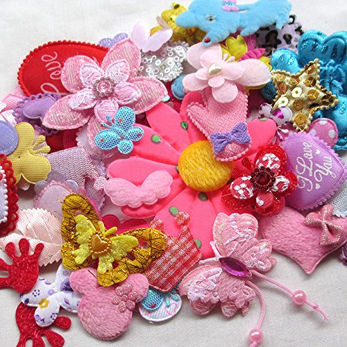 50pcs Random Assorted Felt Padded Appliques Sewing Baby Craft Decorative Patches
