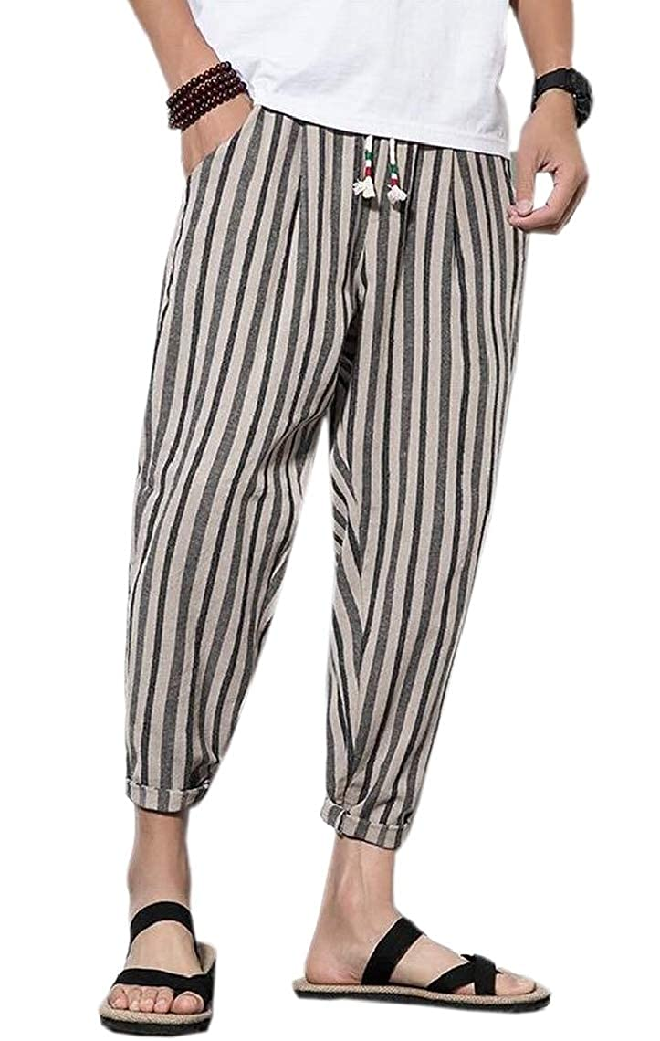 Hokny TD Men Yoga Boho Hippie Stripes Style Wide Leg Harem Pants