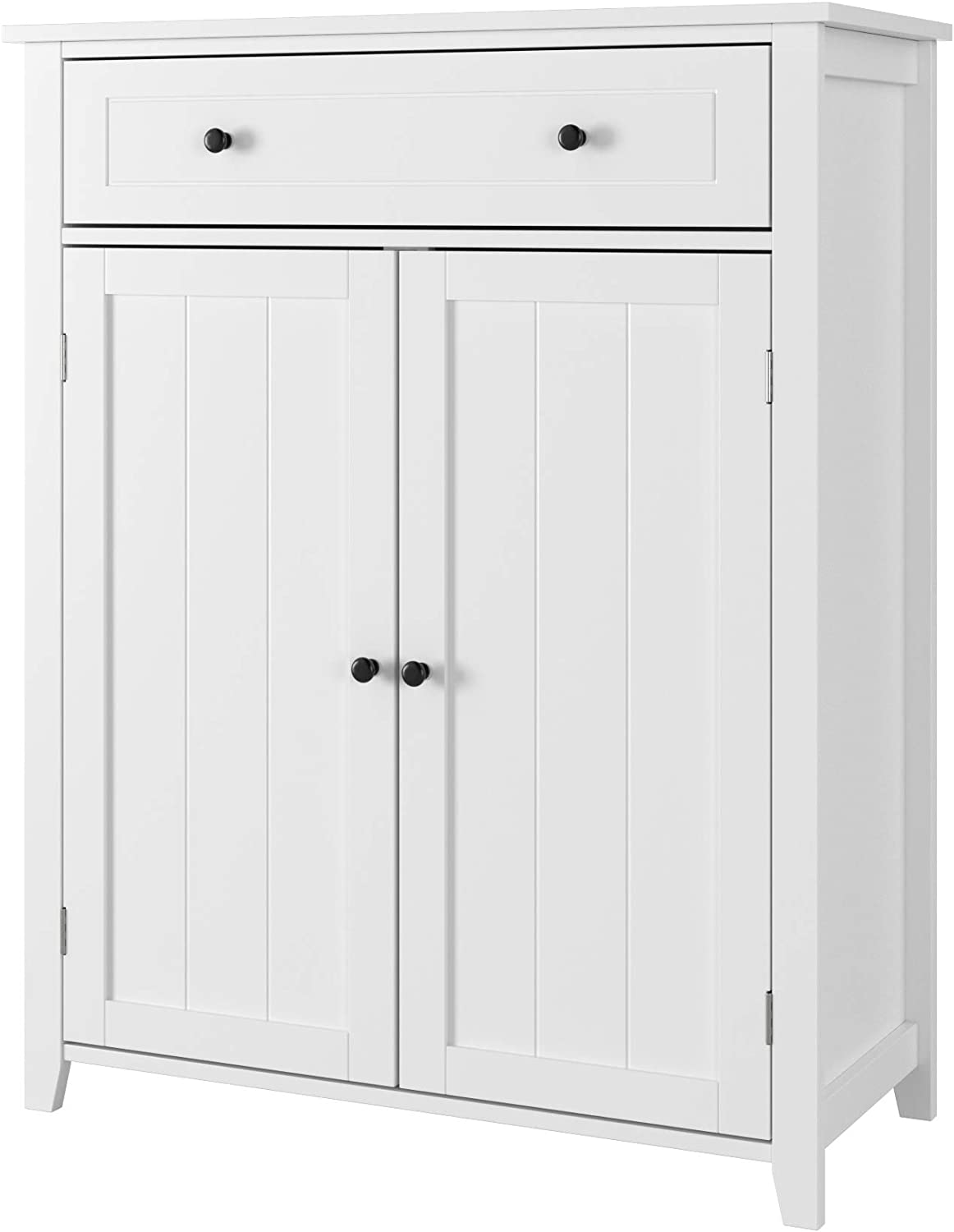 Homfa Bathroom Floor Cabinet, 31.5Lx13.8Wx39.4H inch Free Standing Large Side Cabinet Dresser Wooden Storage Organizer with 1 Large Drawer and 2 Door for Bedroom Home Office, White