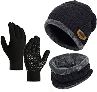 Ufoyer 3pcs Winter Beanie Hat Scarf Set Warm Knit Hat Thick Knit Skull Cap for Men Women+ Touching Gloves