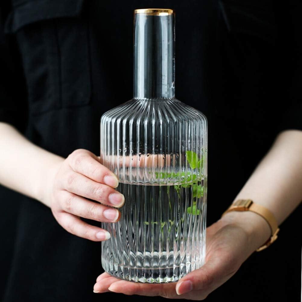 Decantadores de licor Raya vertical phnom penh Botella De Vino Glass1L Decoración Artesanía Hogar Florero de vidrio transparente Florero creativo de la sala de estar Caldera de interior 33.8 onzas