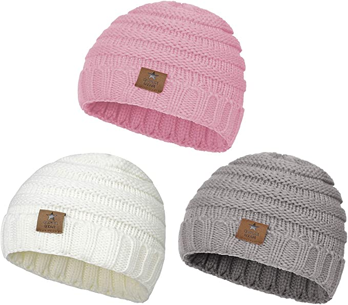Infant Newborn Toddler Kids Winter Warm Knit Cap for Boys Girls Alepo Fleece Lined Baby Beanie Hat