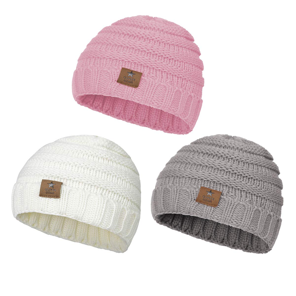 Zando Baby Beanies For Girls Winter Caps Warm Infant Toddler Children's Beanie Knit Hats Boys 0-4 Years Old 3 Pack:White,Grey,Pink by Zando