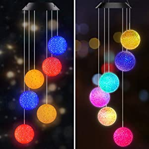 Set of 2 Color Changing Solar Power Wind Chimes Crystal Ball Wind Chime+Three Color Changing Crystal Ball Wind Chime Portable Waterproof Outdoor Windchime Light for Patio Yard Garden Home