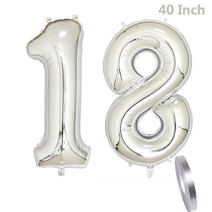 2 Ballons Numero 18 Numero 18 D Argent Decoration Ballon