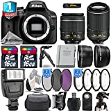 Holiday Saving Bundle for D3400 DSLR Camera + 18-55mm VR Lens + 55-200mm VR II Lens + 0.43X Wide Angle Lens + 2.2x Telephoto Lens + Flash + 2 Of 4PC Macro - International Version