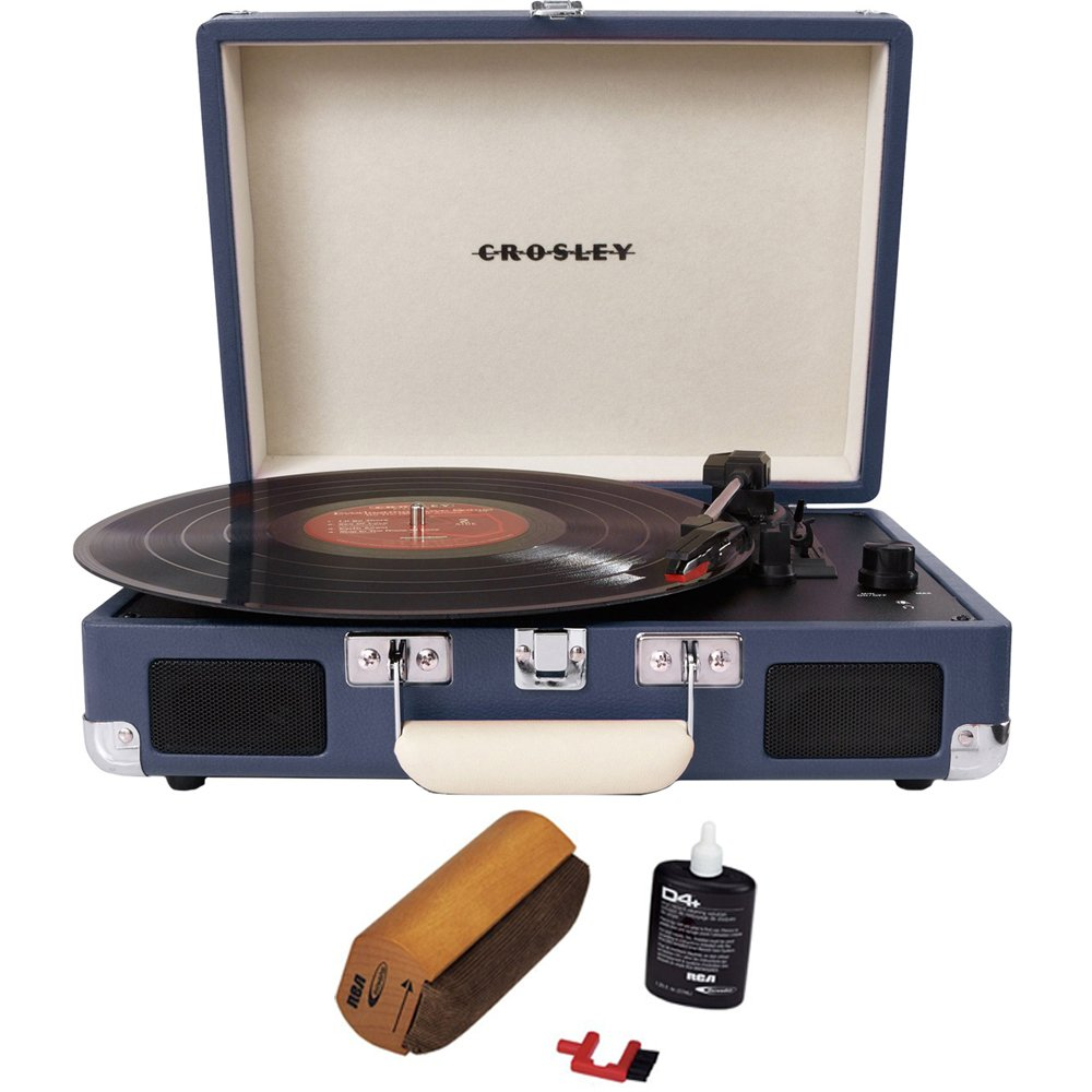 Crosley Cruiser Portable 3-Speed Turntable with Bluetooth Blue (CR8005D-BL) with RCA D4+ Vinyl Record Cleaning Fluid System
