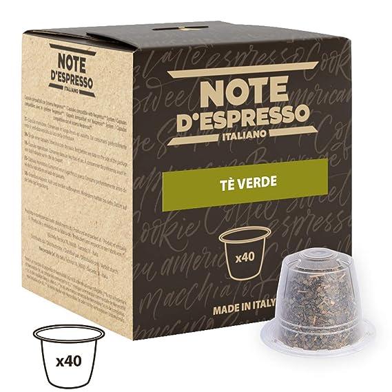 Note DEspresso - Cápsulas de té verde compatibles con cafeteras Nespresso, 3 g (caja de 40 unidades)