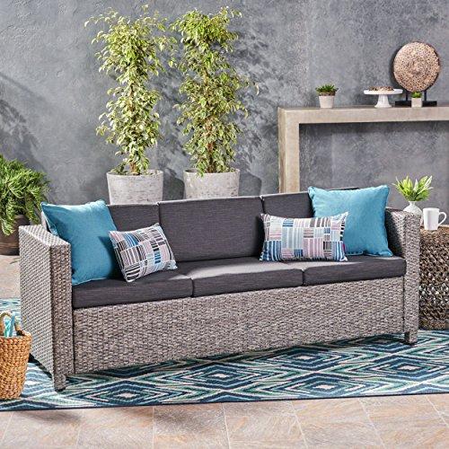 Cony Outdoor Wicker 3 Seater Sofa, Mixed Black with Dark Grey Cushions