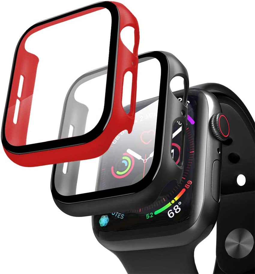 XFEN 2 Packs Hard Case for Apple Watch Series 6/5/4 and Apple Watch SE 40mm with Tempered Glass Screen Protector, Matte Hard PC Case Slim Overall Protective Cover (Black + Red, 40mm)