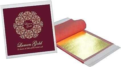 8CM X 8CM DECORATIVE GOLD LEAF LOOSE SHEET BOOKLET 24 CARAT 25 X EDIBLE