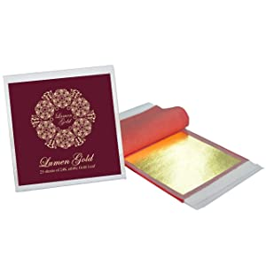 24K Edible Gold Leaf 25 Sheets 8 x 8 cm (3.15x3.15 inches) Pure Genuine Gold Foil for Desserts, Edible Cake Decors, Cooking, Spa, Facials, Art & Crafts, Gilding, Wines and More