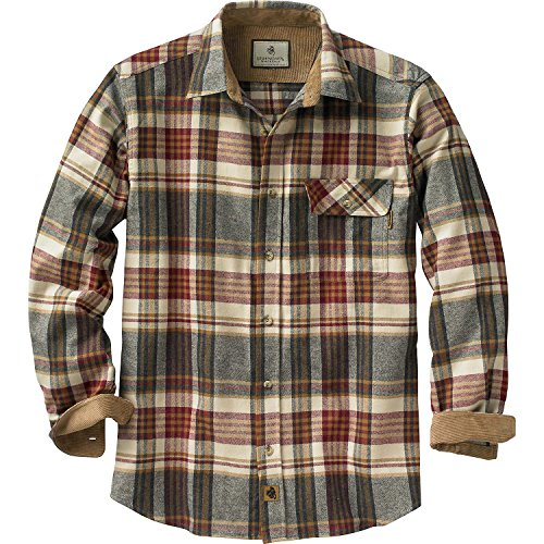 Glory Mens Button Front Shirt - Legendary Whitetails Buck Camp Flannels Cedarwood Plaid Large