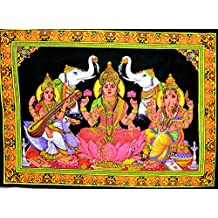 Indian God & Goddess Laxmi / Ganesha / Saraswati Batik Tapestry Deity Art Uv Painting Cotton Wall Hanging (Medium)