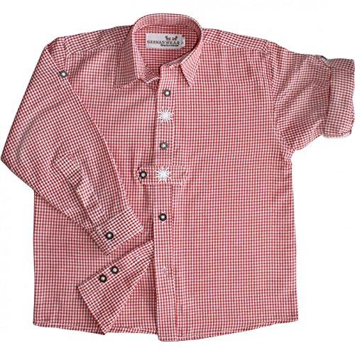 Kinder Trachtenhemd knaben für Trachtenlederhosen mit Edelweiss ROT-karo, Größe:164/170