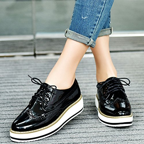 Perforated vintage Oxford Shoes Fashion Silver Hoxekle Shoes glossy Womens Black wingtip wzIxg1HqTf