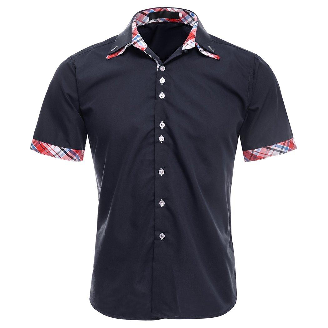 MIOIM Mens Short Sleeve Dress Shirt Blouse Slim Fit Button Down Business Shirt Top