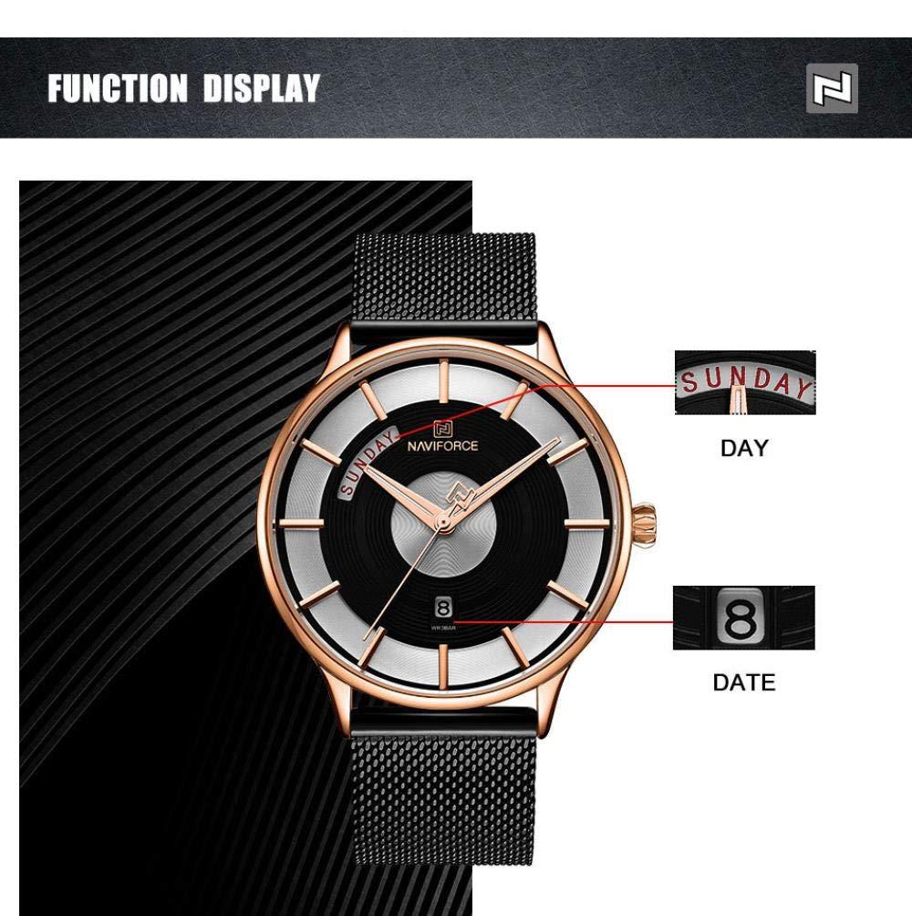 Herrklockor, avslappnad mode affärsnätverk bältesklocka med kalenderfunktion Silver Shell Black Surface