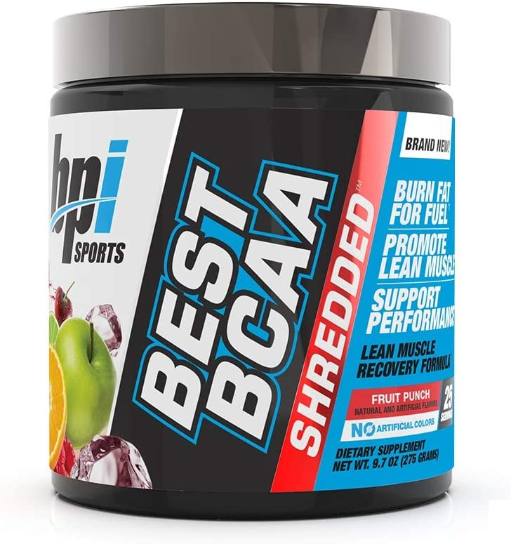 BPI Sports Best BCAA Shredded - Caffeine-Free Thermogenic Recovery Formula - BCAA Powder - Lean Muscle Building - Accelerated Recovery - Weight Loss - Hydration - Fruit Punch - 25 Servings - 9.7 oz.: Health & Personal Care