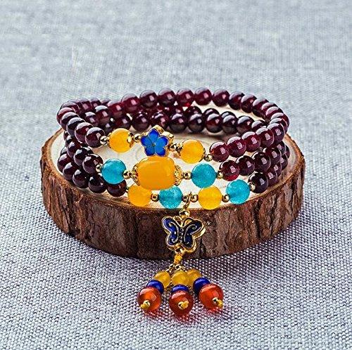 Eine Gute Wahl Exquisite handgefertigte Multi-Loop-Multi-Layer-Anhänger Damen Perlen Armband (gelber Schmetterling) PvxgIo