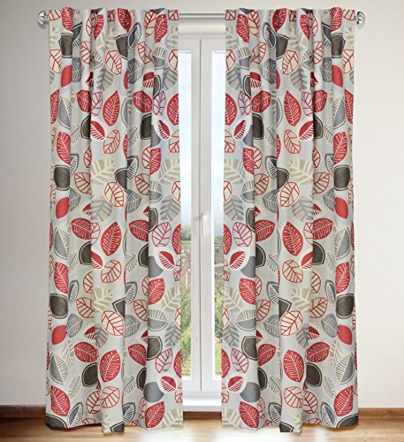 """LJ Home Fashions 540 Shelby Vintage inspired Floral Leaf Print Hidden Tab Top Curtain Panels (Set of 2) 54"""" W x 88"""" L, Ivory/Warm Brown/Barnyard Red/Grey"""