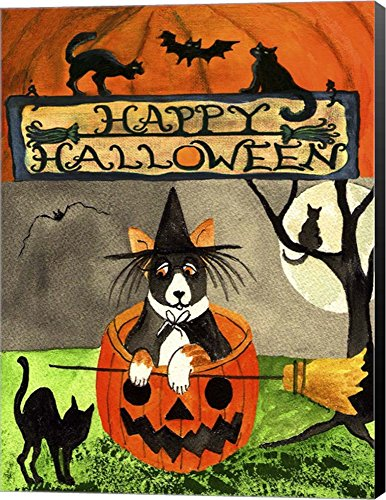 Happy Dog Pumpkin Halloween by Cheryl Bartley Canvas Art Wall Picture, Museum Wrapped with