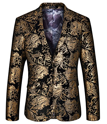 (WULFUL Men's Luxury Casual Dress Floral Suit Notched Lapel Slim Fit Stylish Blazer Jacket Party Coats Gold)